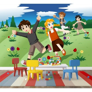 Children Running in the Countryside Wall Poster