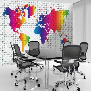 3D Colorful World Map Wallpaper