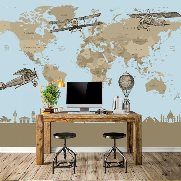 Custom Design Kids Room Blue World Map Wallpaper