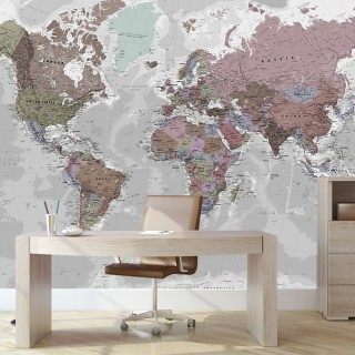 World Map Wall Poster Soft Colors