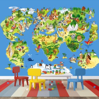 Children's room world map poster
