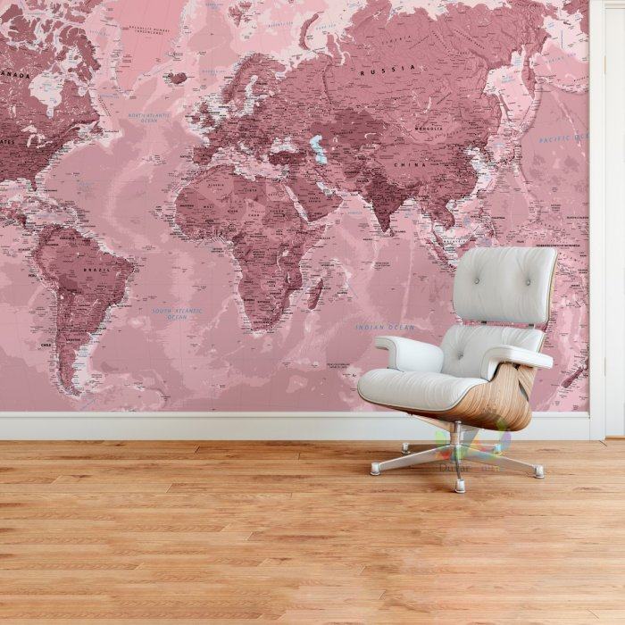 World Map Wall Poster Rose