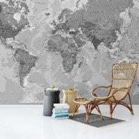 World Map Wall Poster Gray