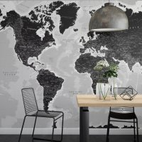 World Map Wall Poster Black
