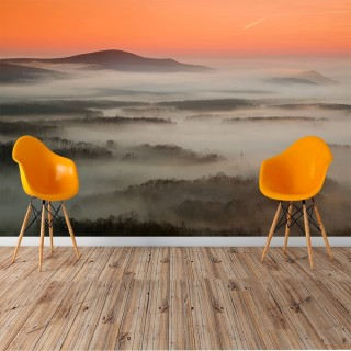 Foggy Forest and Mountain View Wall Poster