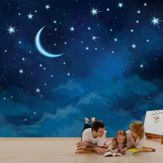 Night Sky and Moon View Wall Poster