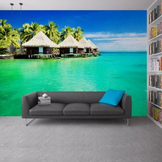 France Polynesia Above Water Huts Wall Poster