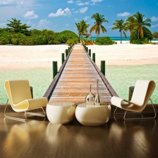 Tropical Beach Landscape Wall Poster