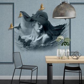 Woman with Hat 3D Wall Poster