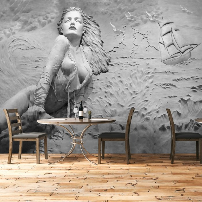 Relief Looking Sea and Woman Wallpaper Gray