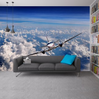 Airplane Above the Clouds 3D Wallpaper